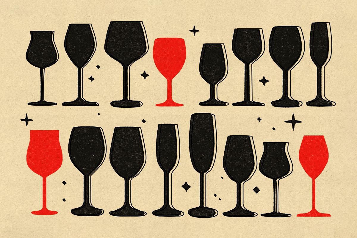 An illustration of 16 assorted wine glass silhouettes, most are black, but three are red