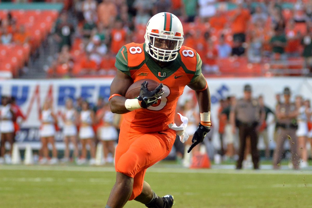 """Your new all-time leading rusher in Miami Hurricanes history: Randy """"Duke"""" Johnson, Jr."""