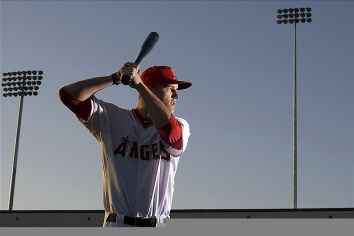 Feb 29, 2012; Tempe, AZ, USA; Los Angeles Angels center fielder Mike Trout (27) during photo day at Tempe Diablo Stadium.  Mandatory Credit: Jake Roth-US PRESSWIRE