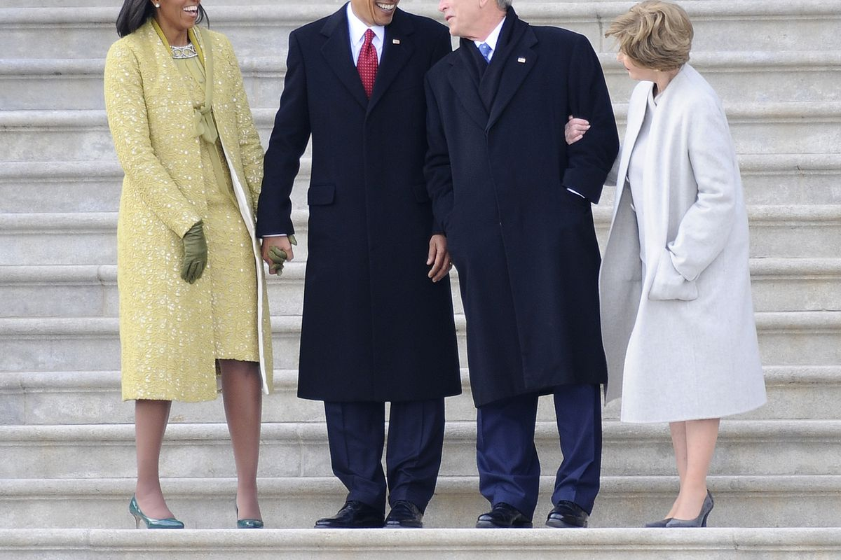 Barack and Michelle Obama with George W. and Laura Bush.