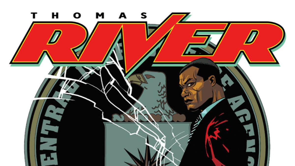Thomas River, a Black man in a suit, stands with a silenced pistol held behind his back, in front of a shattered emblem of the CIA, on the cover of Thomas River, 12-Gauge Comics.