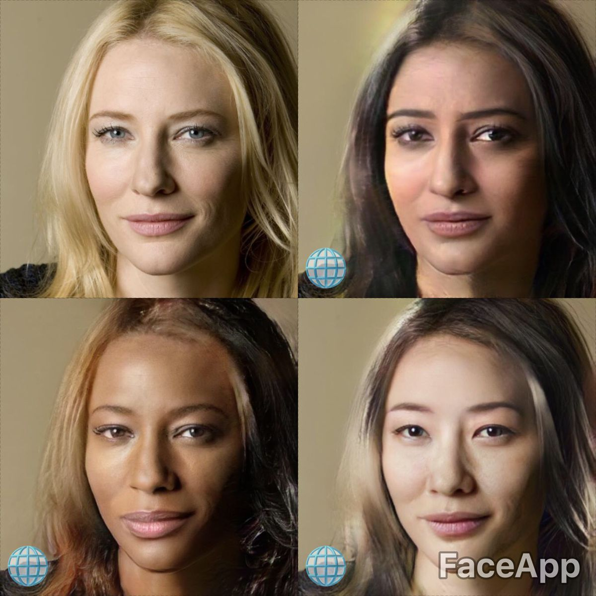 The different racial filters being used on Cate Blanchett.