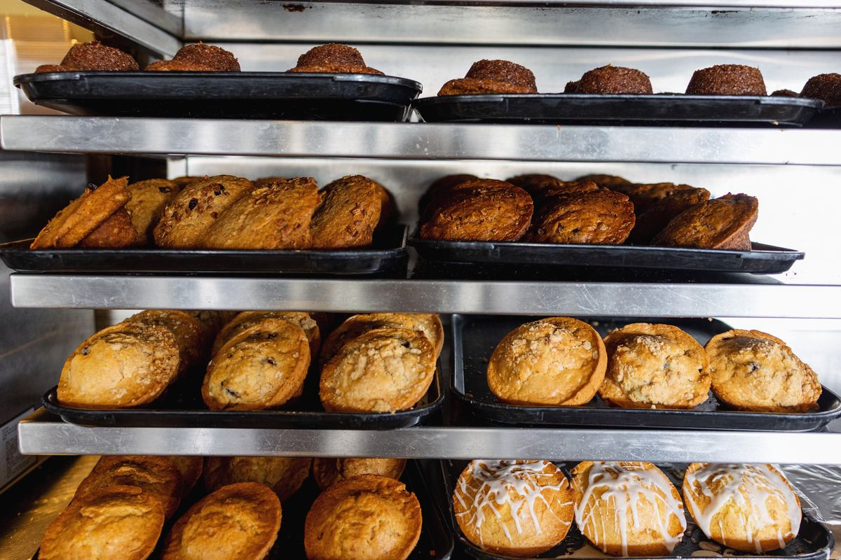 Muffins behind the counter at the Kettle in Manhattan Beach.