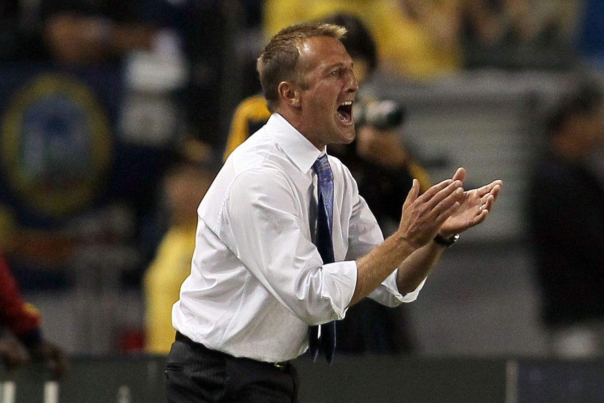Jason Kreis gesticulates. Perhaps he should resolve to look happier on the sidelines every now and then.