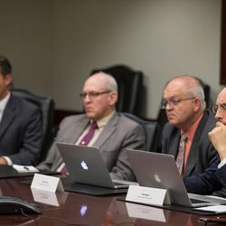 Hal Boyd, opinion editor for the Deseret News, right, leads the discussion as Libertarian presidential candidate Gary Johnson and his running mate, Bill Weld, speak with the Deseret News and KSL editorial board in Salt Lake City on Friday, Aug. 19, 2016.