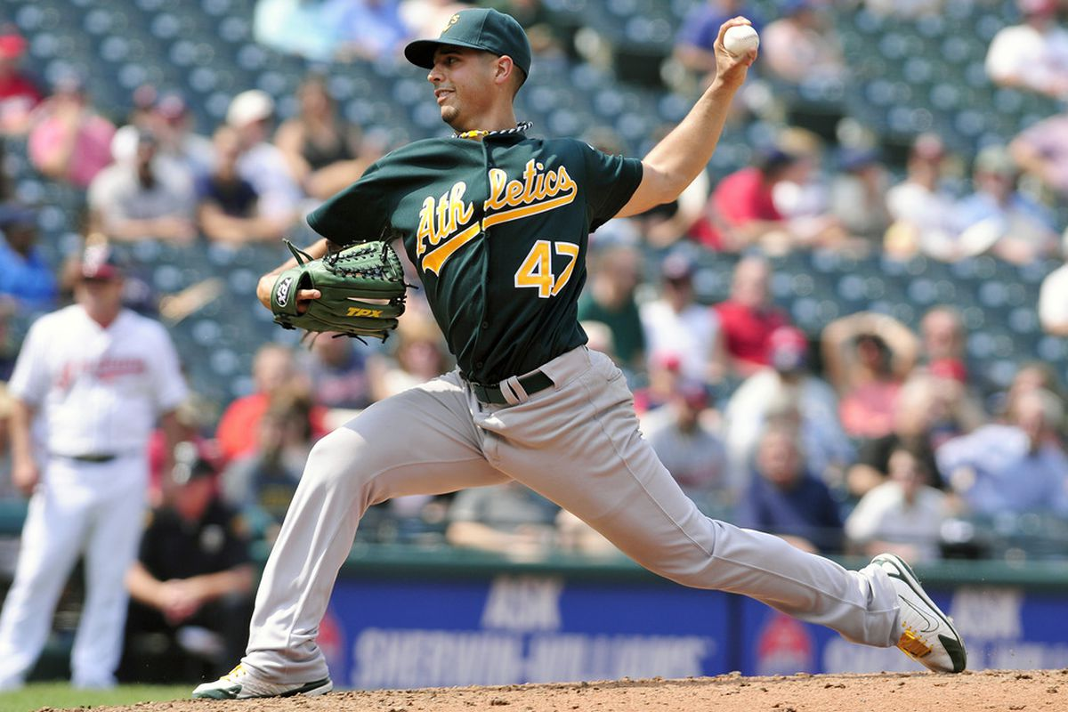 CLEVELAND, OH - SEPTEMBER 1: Starting pitcher Gio Gonzalez #47 of the Oakland Athletics pitches during the sixth inning against the Cleveland Indians at Progressive Field on September 1, 2011 in Cleveland, Ohio. (Photo by Jason Miller/Getty Images)