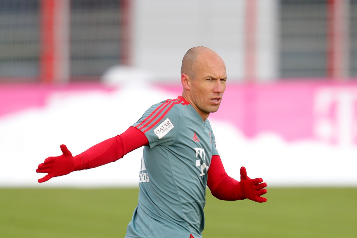 MUNICH, GERMANY - JANUARY 12: Arjen Robben of Bayern Muenchen during a Bayern Muenchen training session at Saebener Strasse training ground on January 12, 2019 in Munich, Germany.