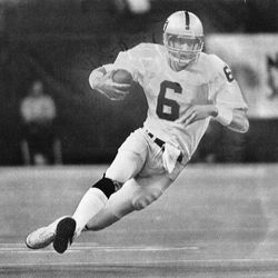 BYU Quarterbacks online photo gallery: Oakland Raiders quarterback Marc Wilson starts into a slide to the ground after being forced to scramble for yardage in the second quarter of the team's Nov. 29, 1981, game against Seattle.
