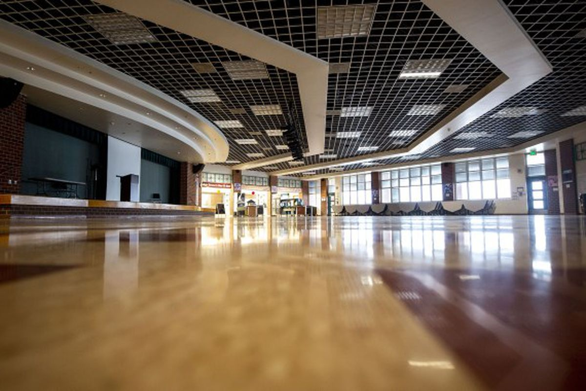 An empty high school foyer.