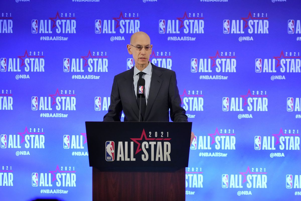 NBA Commissioner Adam Silver speaks to the media during a press conference during the NBA All-Star 2021 on March 6, 2021 at State Farm Arena in Atlanta, Georgia.