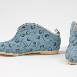 Wing Dings boots printed with images of The Beatles, cotton canvas, rubber, 1964, USA, museum purchase.