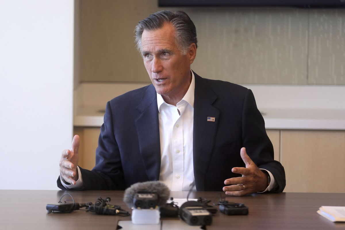 Sen. Mitt Romney, R-Utah, meets with local officials and health experts about anti-vaping efforts during a roundtable discussion at Primary Children's Hospital in Salt Lake City on Thursday, Oct. 10, 2019.