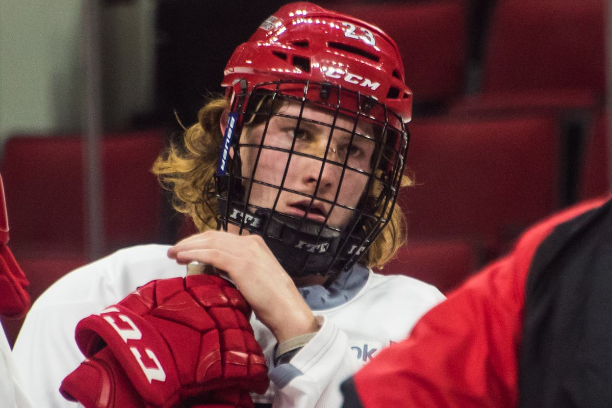 Brock McGinn — and his hair — survived Monday's roster cuts. Six players we assisgned to Charlotte.