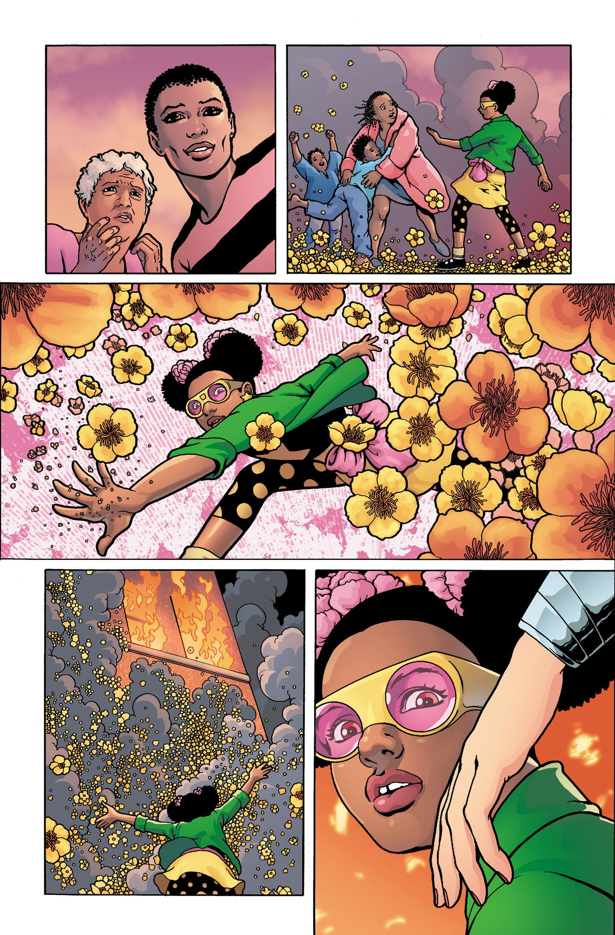Fighting against the fire, Star-Blossom gets tapped on the shoulder by Wonder Woman, in unfinished art from Wonder Woman #750, DC Comics (2020).