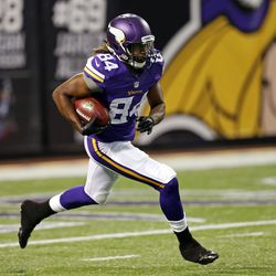 Aug 9, 2013; Minneapolis, MN, USA; Minnesota Vikings wide receiver Cordarrelle Patterson (84) runs with the ball during a kickoff in the first quarter against the Houston Texans at the Metrodome.