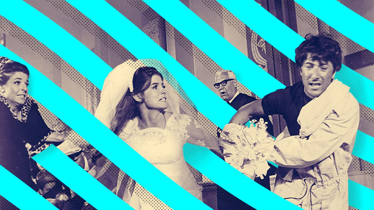 Photoillustration of a chaotic wedding scene from the movie The Graduate with an illustrated pattern swirling throughout.