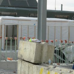 Construction shelter in right field -