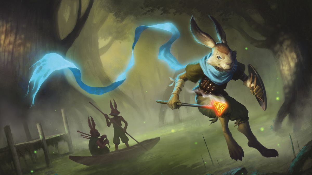 Fantasy illustration of a rabbit holding a flaming brand and shield