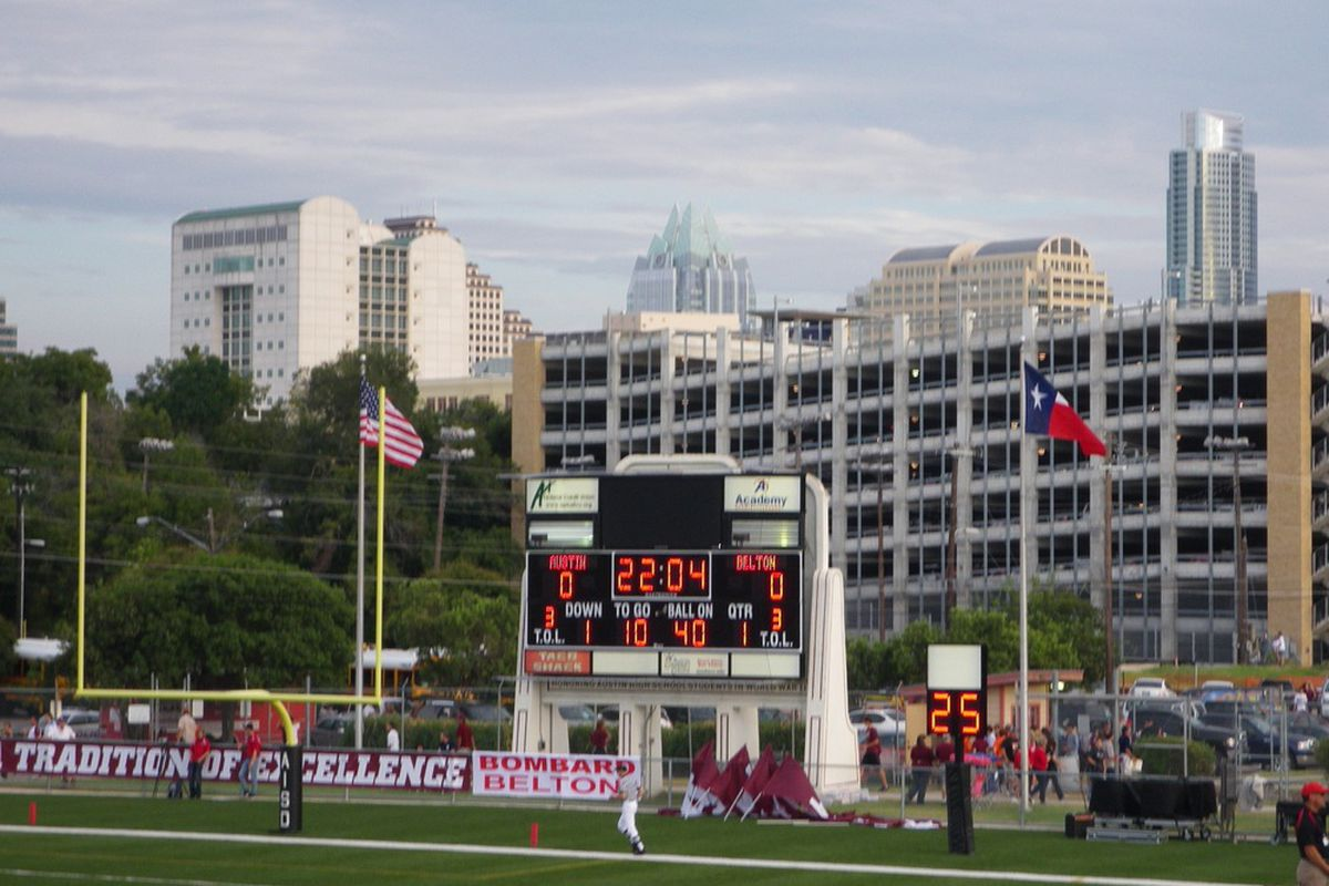 The view of the Austin skyline is a pretty one from the visiting bleachers at House Park (photo by the author).