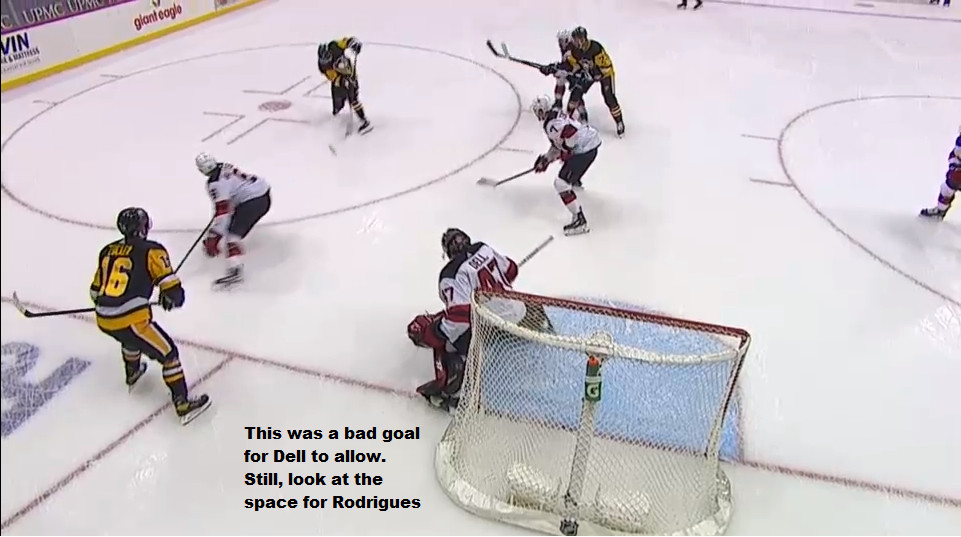 April 20:  This was a bad goal for Dell to allow, but Rodrigues found the hole in the Devils' coverage and made the most of it.