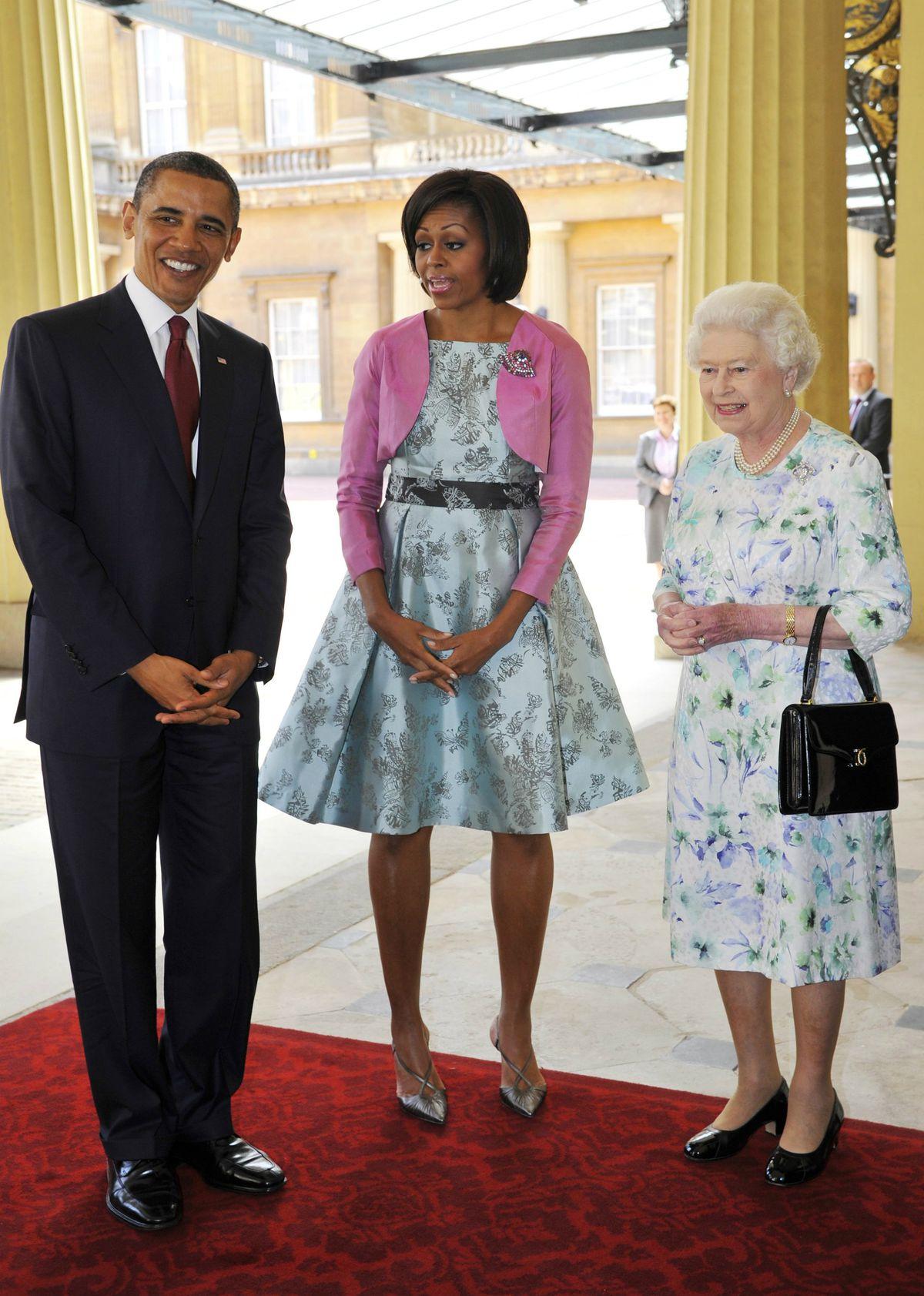 Michelle Obama in a Barbara Tfank dress to meet Queen Elizabeth II in May 2011.