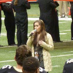 Skylar Laine from American Idol singing the National Anthem.