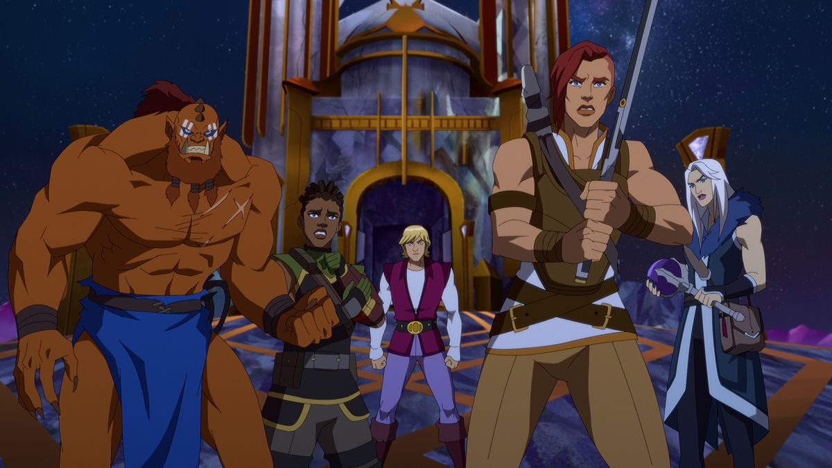 Beast-Man, Andra, Prince Adam, Teela, and Evil-Lyn stand together in a group-hero pose in Masters of the Universe: Revelation