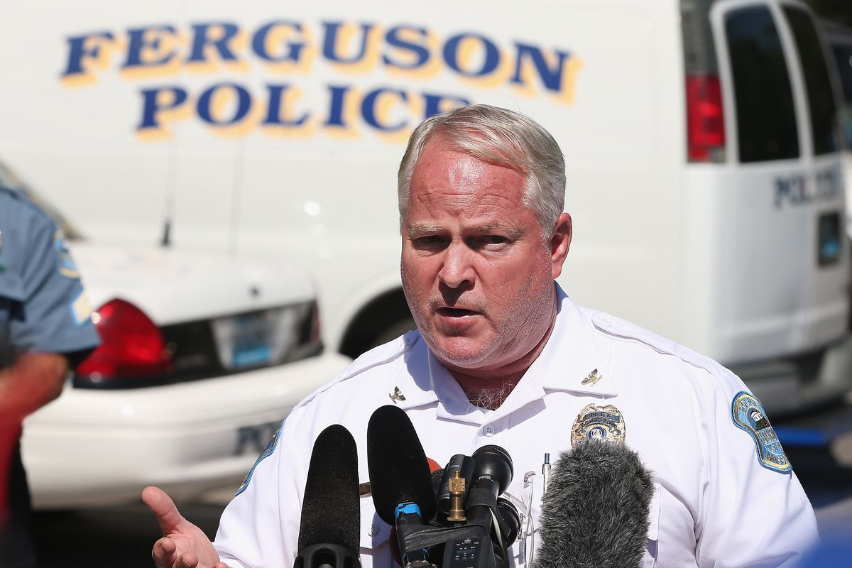 Police Chief Thomas Jackson holds a press conference on the death of Michael Brown on August 13, 2014 in Ferguson.