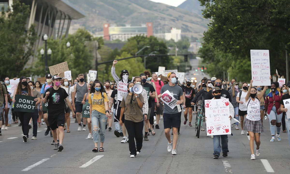 Protesters march on 500 South to denounce the shooting of Bernardo Palacios-Carbajal in Salt Lake City on Thursday, June 25, 2020. Palacios-Carbajal was shot and killed by Salt Lake police in May.