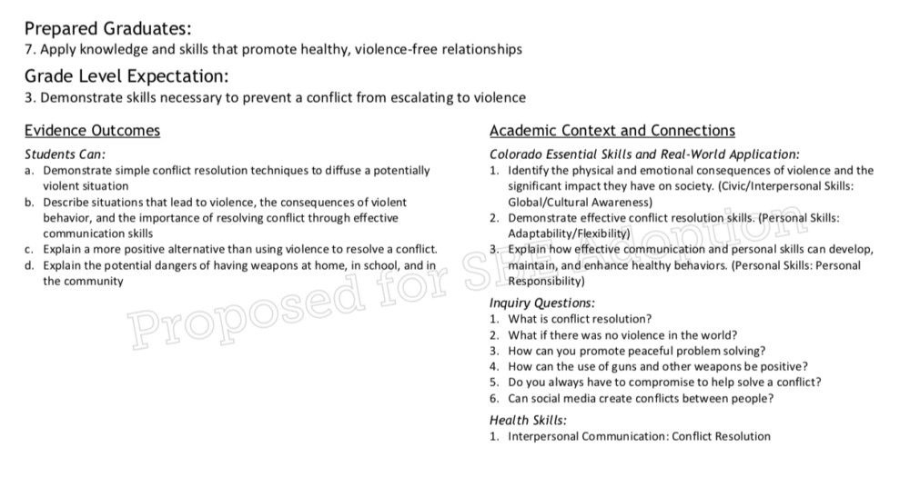 New state standards on health and physical education discuss guns in the context of conflict resolution.
