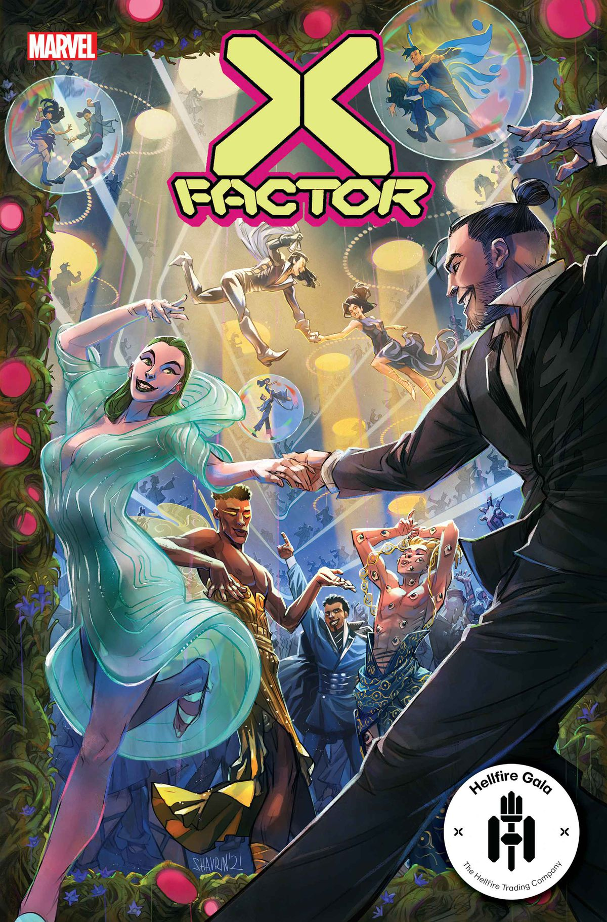 The members of X-Factor dance on the cover of X-Factor #10, Marvel Comics (2021)