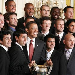 President Barack Obama is seen with members of  Real Salt Lake during an event in the East Room of the White House Friday.
