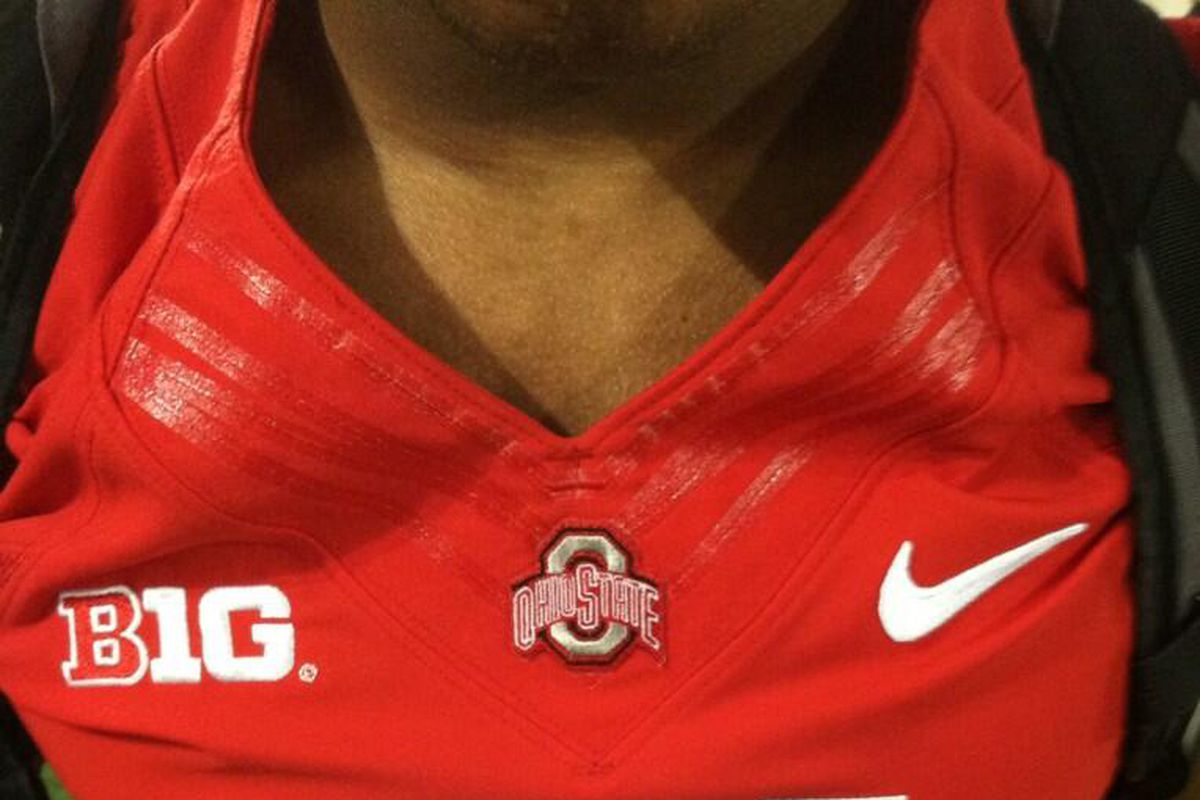 Ohio State is now donning Nike's Flywire collar, which has extra bands of stitching at the neckline.