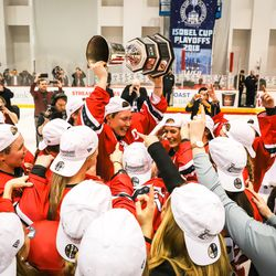 Riveters celebrate with the Isobel Cup.