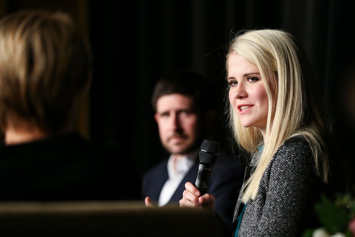 """Elizabeth Smart speaks during a panel discussion titled """"Smart Talks: I've Never Told Anyone"""" at Brigham Young University in Provo on Friday, Oct. 20, 2017."""