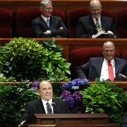 President Thomas Monson speaks during the morning session of the182nd Semiannual General Conference for The Church of Jesus Christ of Latter-day Saints in the Conference Center in Salt Lake City on Saturday, Oct. 6, 2012.