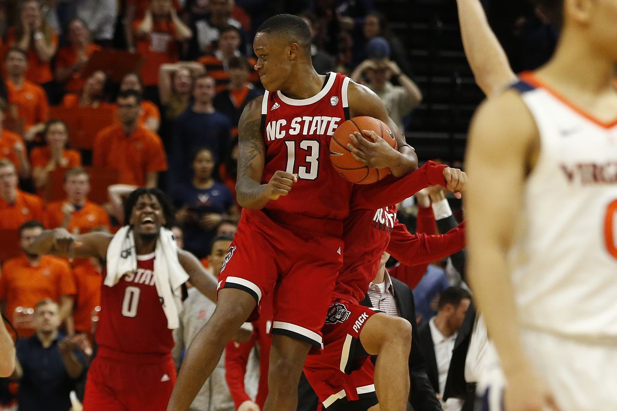 North Carolina State Wolfpack guard C.J. Bryce celebrates after the final horn against the Virginia Cavaliers at John Paul Jones Arena.