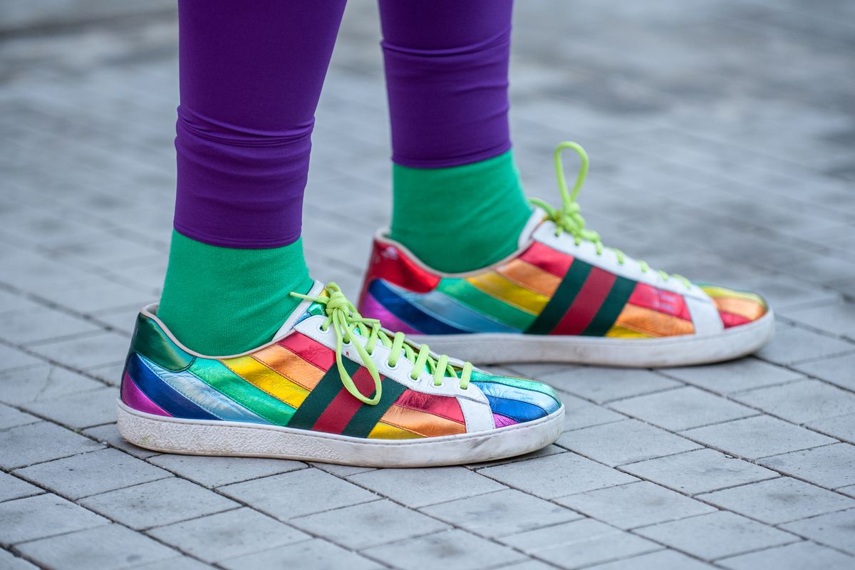808a2f573 These Gucci shoes are just one of many rainbow items all over fashion right  now. Robert Marquardt Getty Images ...