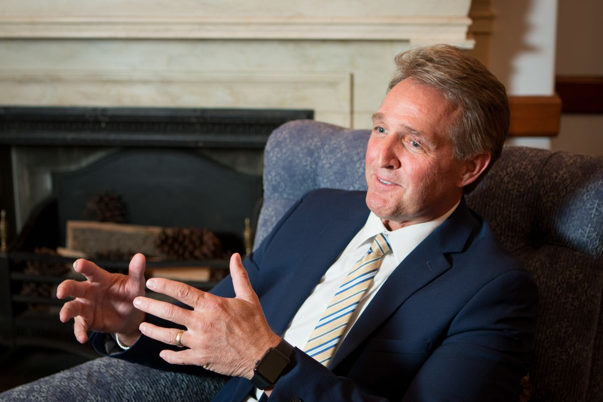 Sen. Jeff Flake, R-Ariz., who has been openly opposed to President Donald Trump and who has announced that he will not run for re-election, said he hopes Mitt Romney will run for Utah Sen. Orrin Hatch's seat and how his Mormon optimism plays into his thou