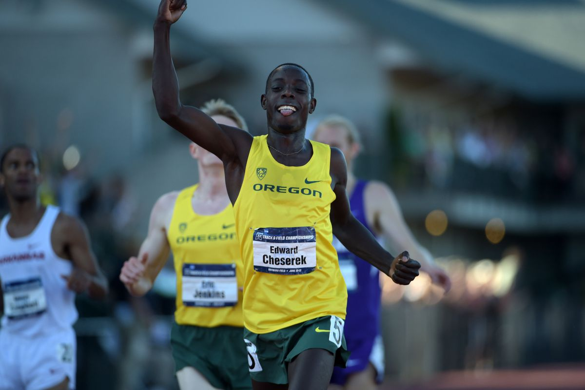 Edward Cheserek celebrates taking home the 2015 NCAA national outdoor title in the the 5,000 meters