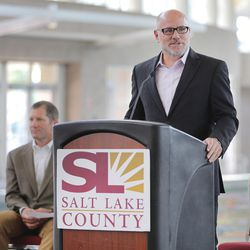 Visit Salt Lake President an CEO Scott Beck speaks during a press conference at the Salt Palace Convention Center in Salt Lake City, as officials announce Monday, Aug. 24, 2015, that the Outdoor Retailer Summer and Winter markets have been extended through 2018.