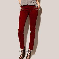 """<b>Pixie Market</b>  Burgundy Double Zip Skinny Jeans, <a href=""""http://www.pixiemarket.com/store/burgundydoublezipskinnyjeans-p-5115.html"""">$68</a>"""