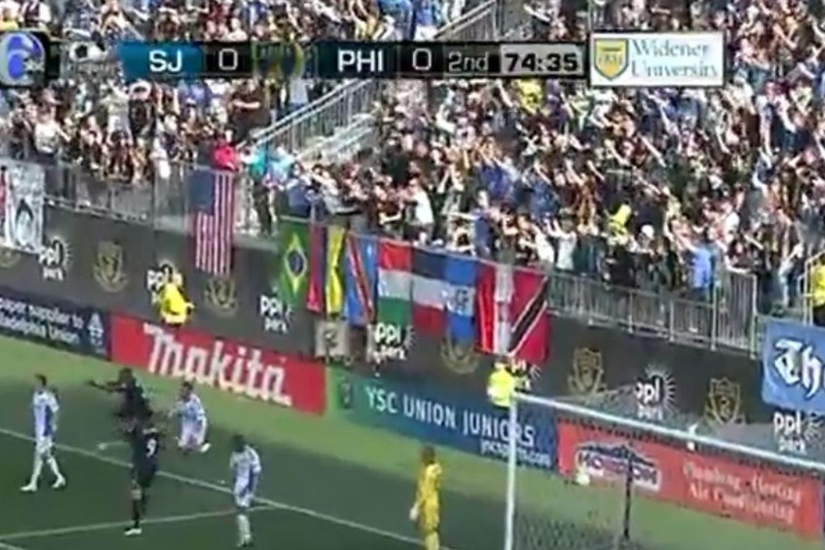 The Sons of Ben call for a handball call on San Jose defender Jason Hernandez. (Photo courtesy of ABC6 and MLS)