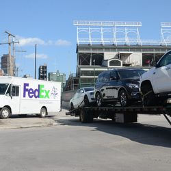 3:17 p.m. FedEx truck driving on the sidewalk to get out of the way  -