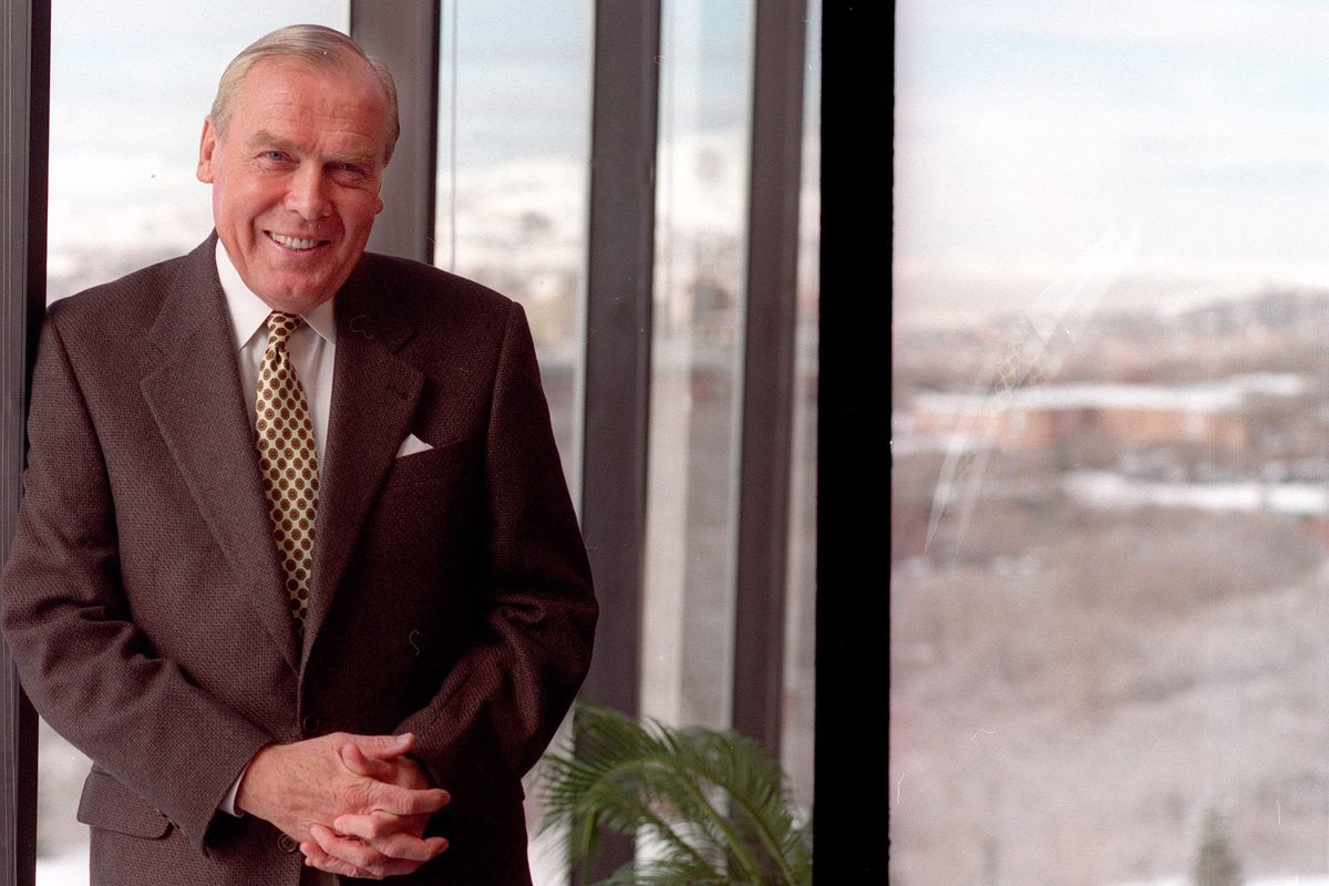 With a swipe of a pen, billionaire businessman Jon Huntsman Sr. pledged $1.2 million Tuesday to the Road Home as part of the downtown homeless shelter's annual holiday fundraiser.