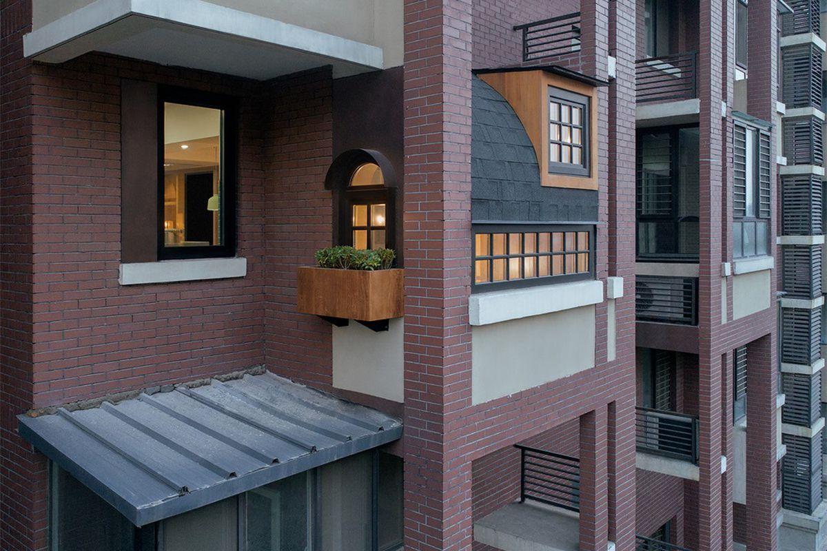 Facade of brick apartment complex