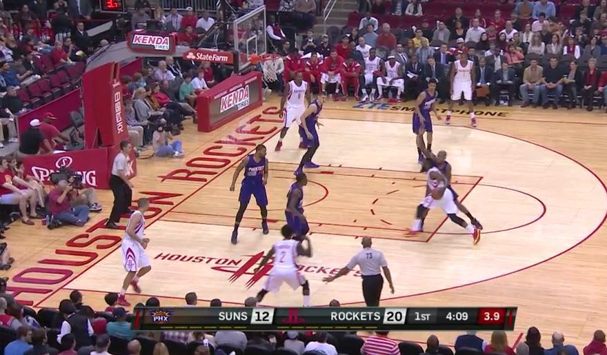 Harden drives and help-defenders come