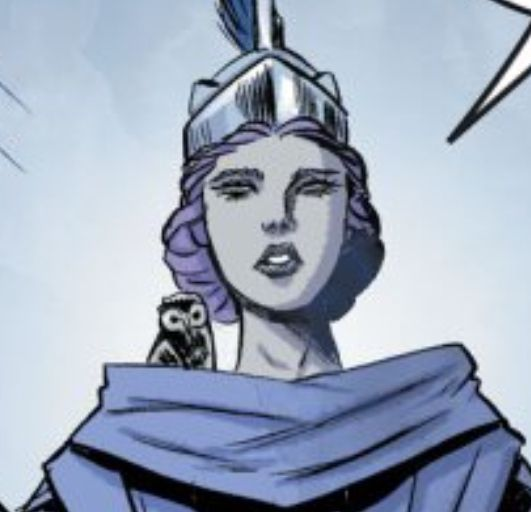 Athena's owl sits on her shoulder, being very cute and small in Wonder Woman: Warbringer, DC Comics (2020).