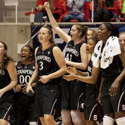 Stanford players cheer on their teammates from the bench as they maintain a large lead over Utah during the second half of an NCAA college basketball game Friday, Jan. 10, 2014, in Salt Lake City. Stanford won 87-61. (AP Photo/Kim Raff)