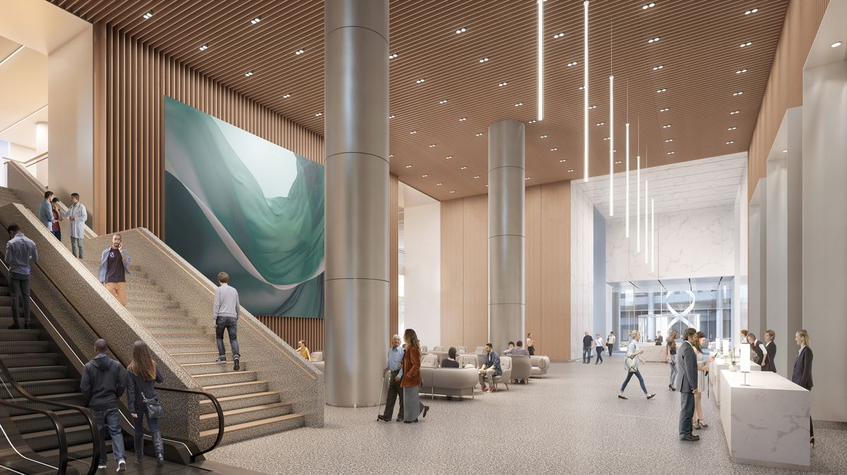 Rendering of large lobby with staircase and escalators on the left and a reception desk on the right.